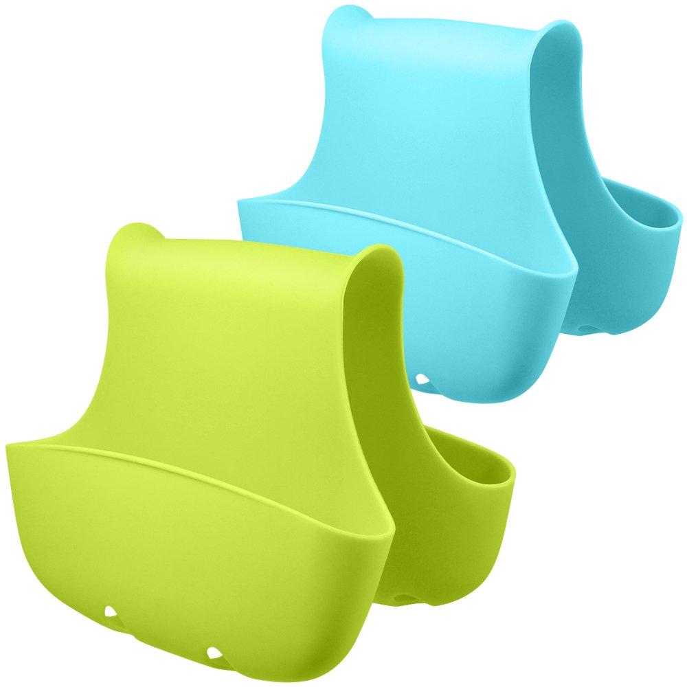 2 Pack Sponge Holder for Double-Sink, FineGood Saddle Caddy Brush Soap Organizer Storage Kitchen Bathroom Plastic Basket - Blue, Green FG-sponge_holder_2