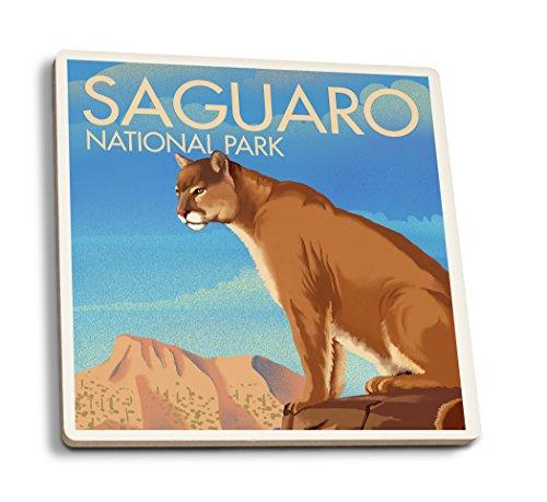 - Lantern Press Saguaro National Park, Arizona - Mountain Lion - Lithograph (Set of 4 Ceramic Coasters - Cork-Backed, Absorbent)