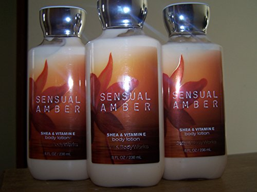 Lot of 3 Bath & Body Works Signature Collection Sensual Amber Shea & Vitamin E Body Lotion (Sensual Amber)