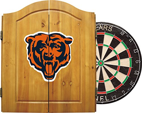 Imperial Officially Licensed NFL Merchandise: Dart Cabinet Set with Steel Tip Bristle Dartboard and Darts, Chicago ()