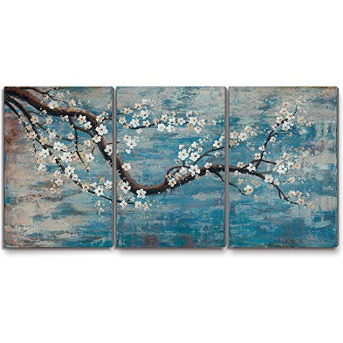 "Ejart Wall Art for Living Room 100% Hand-Painted Flower Oil Painting On Canvas Gallery Wrapped Large Framed Floral Plum Blossom Tree Teal Blue Artwork for Home Bedroom Decor 48""x24"""
