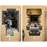 Minecraft 3d Giant Wall Graphics Decal Stickers Reuse Cling Steve Pig 2 Pk