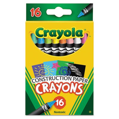 Construction Paper Crayons, Wax, 16/Pk, Sold as 16 Each