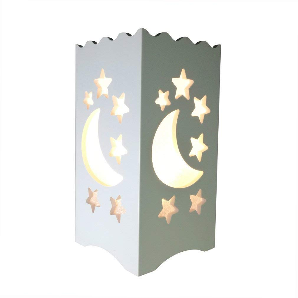 Kids Night Light Table Light White Art Light with Moon and Star Shaped Carving, Desk Lamp Night Light for Nursery,Bedroom(Star)