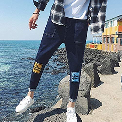 Semplice Libero Pantaloni Moda Fit Hole Tempo Harem Stile Uomo E Basic Jeans Slim Denim Matita Blau Da 6qAPfwBxS8