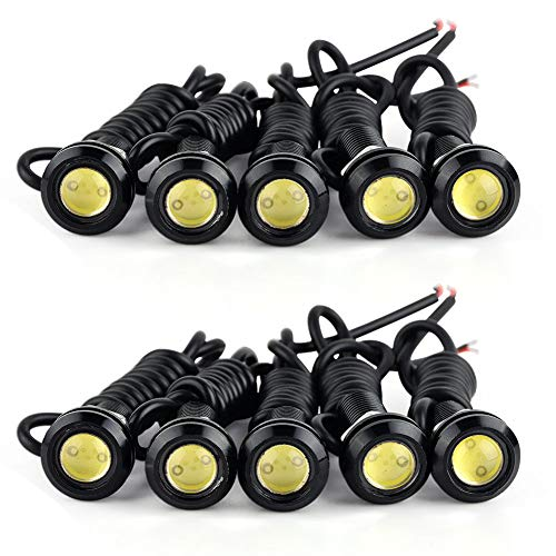 Eagle Eye LED Lights, YITAMOTOR 10PCS High Power 9W LED Eagle Eye Lights Car Motorcycle Lighting Daytime Running DRL Fog Light Bumper Backup Clearance Marker Bulbs (18mm, - Eagle Led Light Eye
