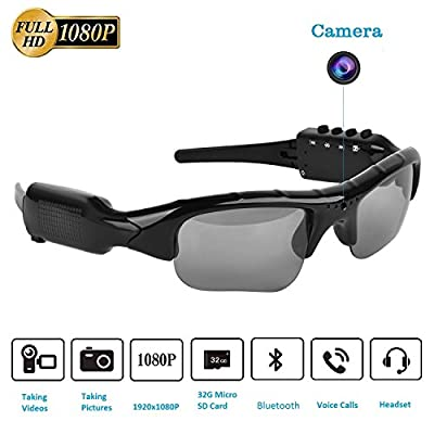 Bluetooth Sunglasses Camera,Real Full HD 1080P with Wide Angle Mini DVR Video for Outdoor Sports by SENLUO