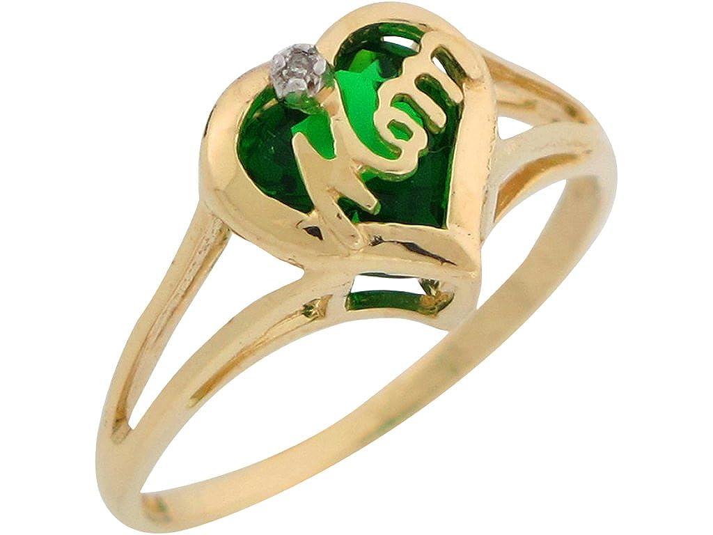 Jewelry Liquidation 14k Yellow Gold Natural Diamond Mom Ring with Simulated Birthstone