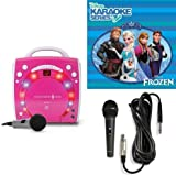 Singing Machine SML283BK CDG Karaoke Player (Pink) With Disney's Frozen Karaoke CD, and Extra Microphone Bundle