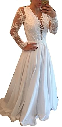 Irenwedding Women s Applique Lace Long Sleeves Prom Dress Pearls Belt Open  Back Evening Gown at Amazon Women s Clothing store  751b8fa754