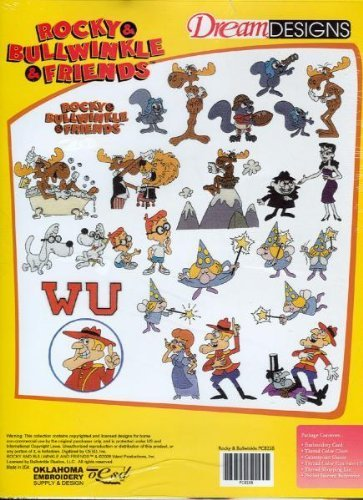 Bernina Artista Embroidery Card ROCKY & BULLWINKLE (Pes Embroidery Card)