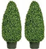Artificial Boxwood Cone Topiary Bush Potted 42 Inch Two