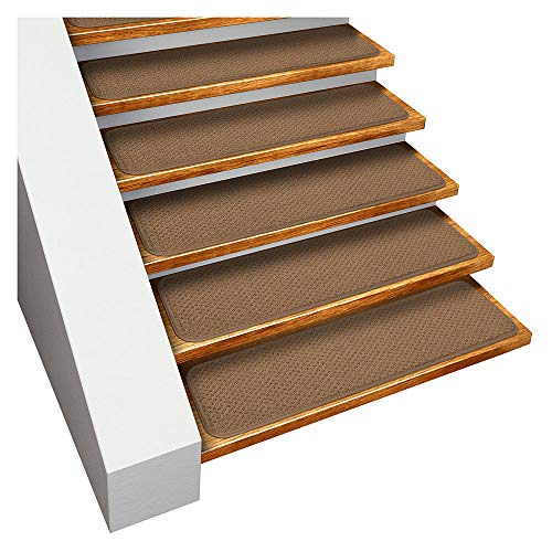 House, Home and More Set of 15 Skid-Resistant Carpet Stair Treads - Toffee Brown - 9 in. X 36 in. - Several Other Sizes to Choose from