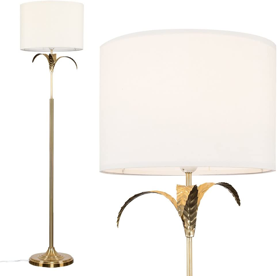Modern Gold Effect Palm Tree Design Floor Lamp With A Cream Cylinder Light Shade Amazon Co Uk Lighting