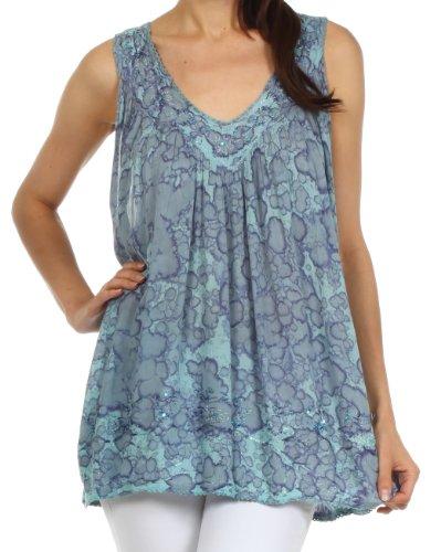 n Summer Sleeveless Blouse - Turquoise - One Size (Linen Sleeveless Blouse)