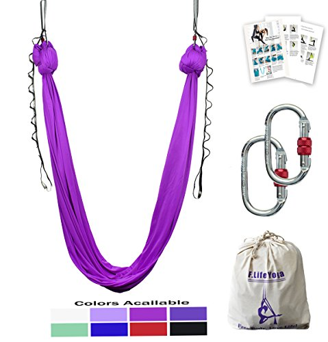 Aerial Yoga Hammock 5.5 yards Include Daisy Chain ,Carabiner and Pose Guide (Purple)
