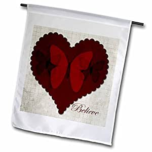PS Inspirations - Inspirational Red Heart with Butterflies Believe - Art - 18 x 27 inch Garden Flag (fl_57282_2)