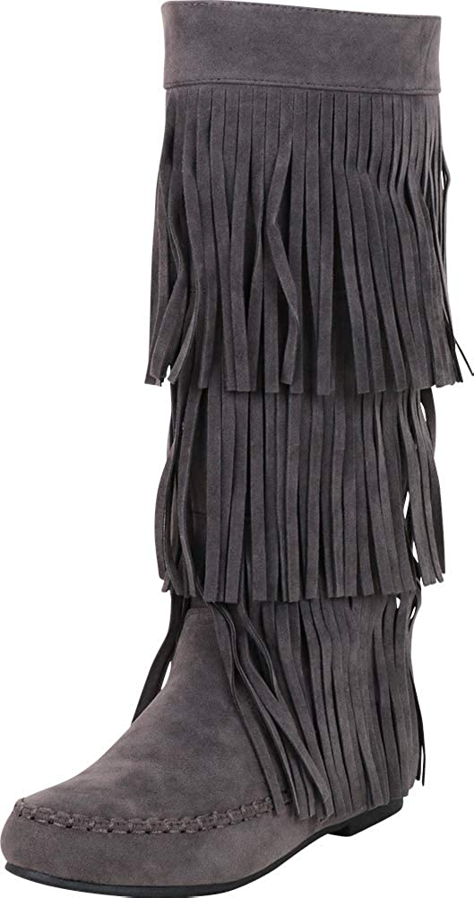 Grey Imsu Cambridge Select Women's Moccasin 3-Layer Fringe Flat Knee-High Boot