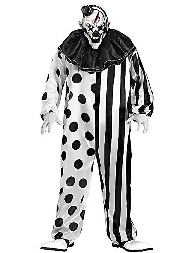 Scary Halloween Costumes For Men (FunWorld Killer Clown Complete, Black/White, One Size)