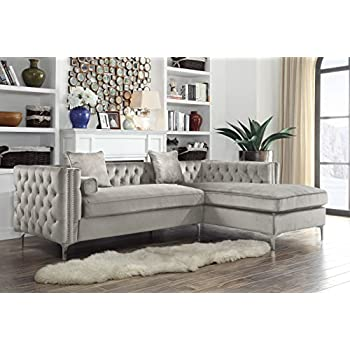 Iconic Home Chic Home Da Vinci Velvet Modern Contemporary Button Tufted  With Silver Nailhead Trim Silvertone