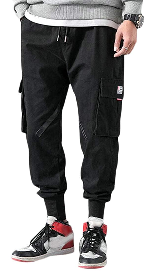 BYWX Men Multi Pockets Solid Color Casual Elastic Waist Jogging Cargo Pants
