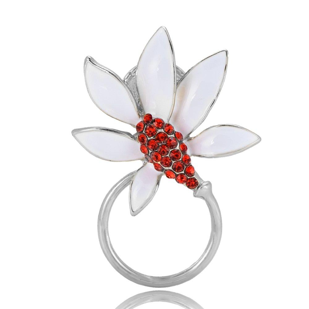 TUSHUO Flower Theme White Petal Red Stamen Magnetic Eyeglass Holder (Sliver)