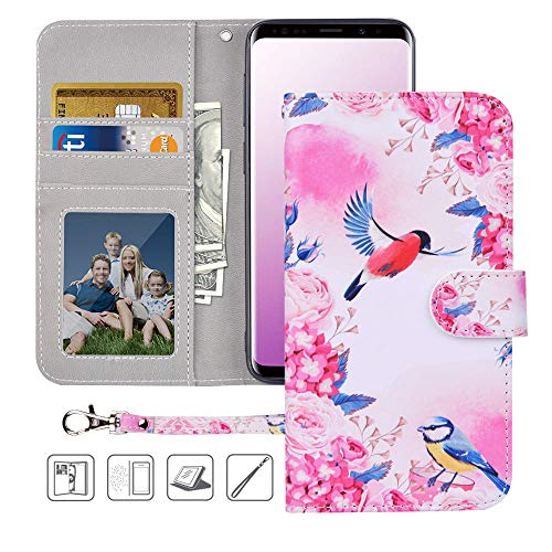 Galaxy S9 Wallet Case,Galaxy S9 Case,MagicSky Premium PU Leather Flip Folio Case Cover with Wrist Strap, Card Holder,Cash Pocket,Kickstand for Samsung Galaxy S9(Birds Love Flowers)