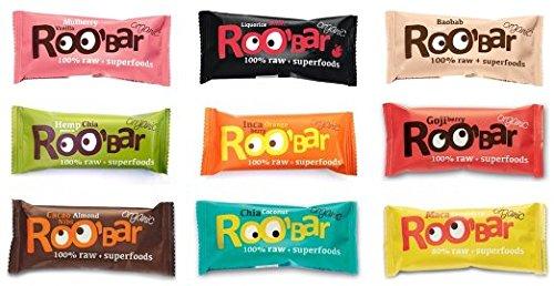 ROO'BAR Rohkost Riegel mit Superfoods 30g x 9 Stück (bio, vegan, roh) Set 9 Sorten (9x30g)