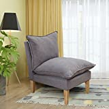 DAGONHIL Mercer Collection Ally Beige Club Chair Lazy Sofa Chair with 2 Soft Pillows (Gray)