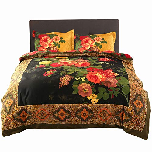(Alicemall 4 Pieces 3D Bedding Sets California King Size Antique Oil Painting Flowers 4 Piece Bedspreads and Duvet Cover Sets, Floral Royal Home Bedding Sets (California)