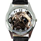 DREAMWATCH Pug Dog Quartz Watch Black Leather Band +Free Spare Battery+Free Gift Bag …