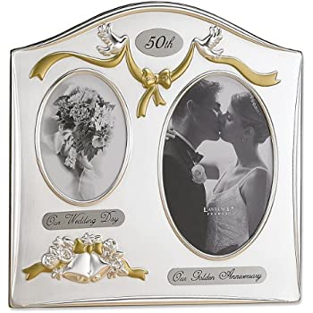 Lawrence Frames Satin Silver & Brass Plated 2 Opening Picture Frame - 50th Anniversary Design