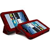 LuvTab RED Samsung Galaxy Tab 2 GT-P3110 / GT-P3113 (7 inch tablet) Multifunctional Multi Angle Luxury Executive Wallet / Cover / Stand / Flip Case