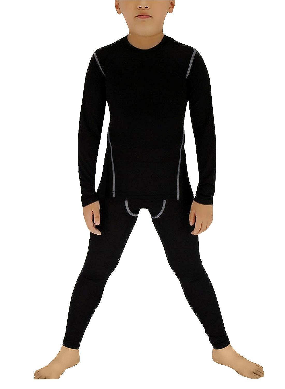Minghe Boy's Long Underwear Set Skin Base Layer Tops and Bottom Moisture Wicking
