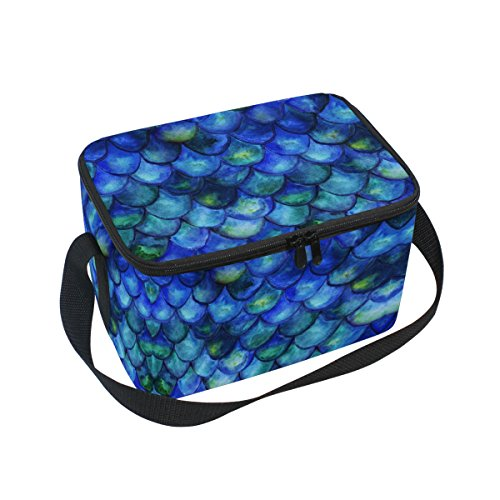 ALAZA Fish Scale Insulated Lunch Bag Box Cooler Bag Reusable