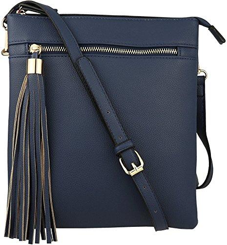 (B BRENTANO Vegan Double-Zip Pocket Crossbody Handbag Purse wih Big Tassel Accent)
