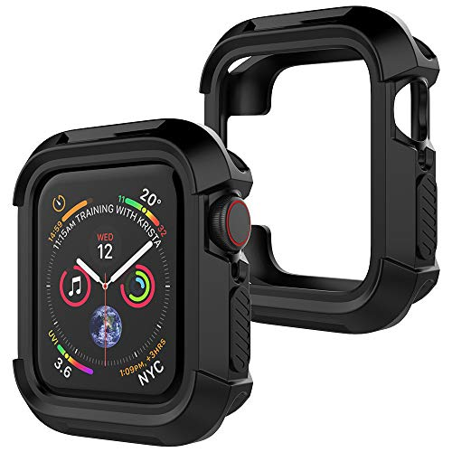 UooMoo Compatible with Apple Watch 4 case 44mm, TPU Shockproof Rugged Full-Protective Bumper Cover Replacement for iWatch Apple Watch Series 4 (44mm,Black)