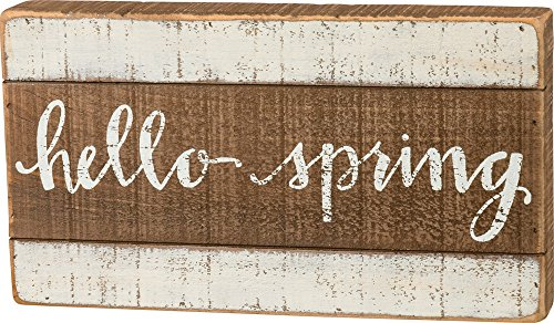 Primitives by Kathy Hello Spring 11.75 Inches x 6.50 Inches Wood Slat Box Sign Home and Garden Decor from Primitives by Kathy