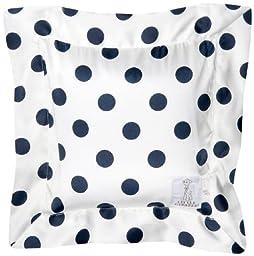 Little Giraffe Luxe Cream Dot Pillow, Denim