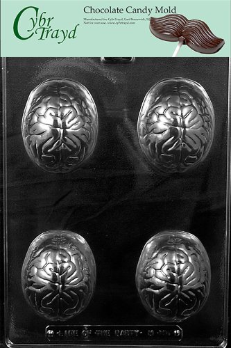 Cybrtrayd M197 The Brain Chocolate Candy Mold with Exclusive Cybrtrayd Copyrighted Chocolate Molding Instructions