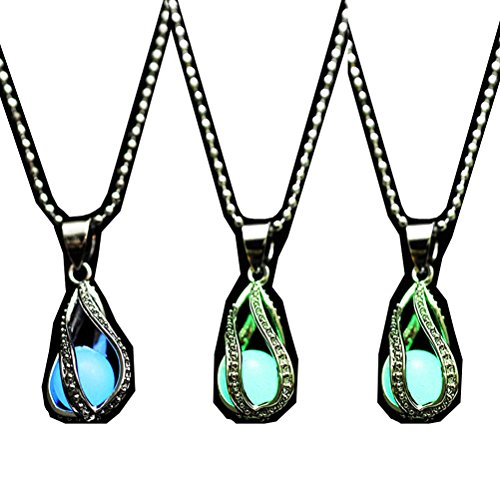 LightOnIt Tear Drop Magical Glow in the Dark Pendant Necklace 3 pack