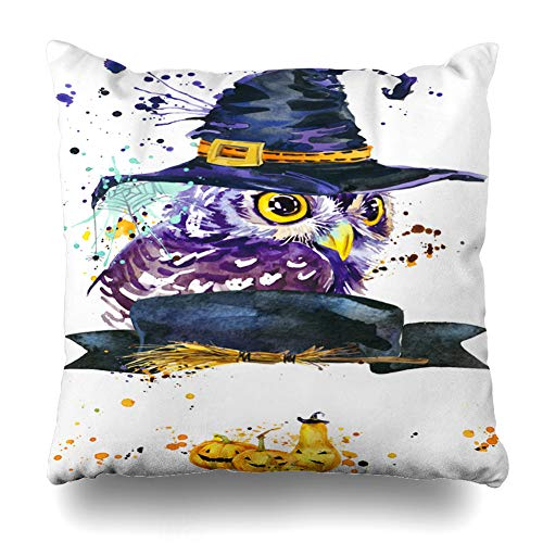 Training Pillow Throw (Kutita Decorativepillows Covers 16 x 16 inch Throw Pillow Covers,Halloween Owl Watercolor Holiday Abstraction Autumn Bird Cat Dark Eagle Ghost Pattern Double-Sided Decorative Pillowcase)