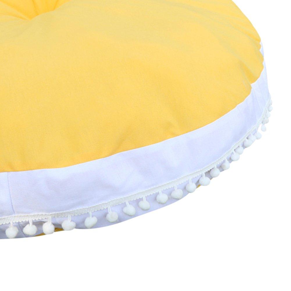 Pueri Baby Spielmatte Runde Teppich Kriechmatte Spielzelte Dekoration f/ürs Kinderzimmer Gelb