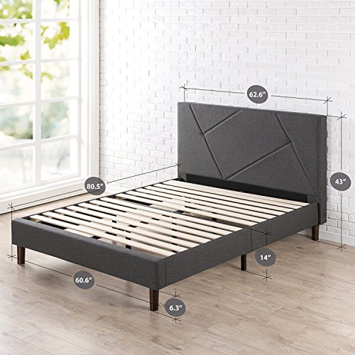 Zinus Upholstered Geometric Paneled Platform Bed