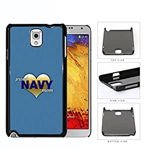Proud Navy Mom with Gold Heart and Teal Blue Background Samsung Galaxy Note III 3 N9000 Hard Snap on Plastic Cell Phone Case Cover