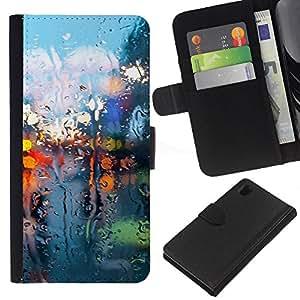 LECELL--Cuero de la tarjeta la carpeta del tirón Smartphone Slots Protección Holder For Sony Xperia Z1 L39 -- Seco Luces de cristal --