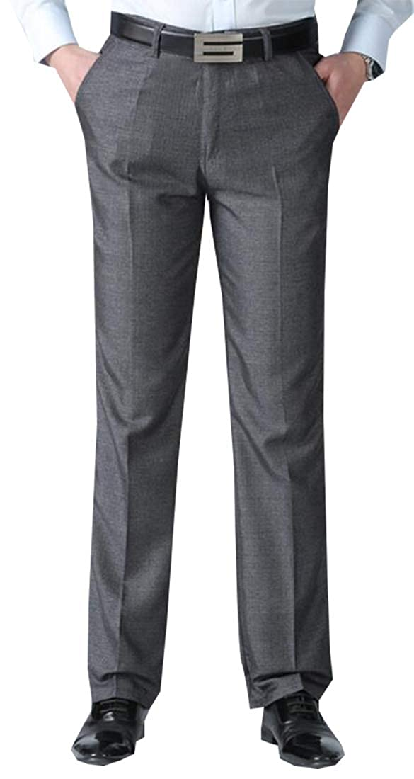 Beloved Mens Business Slim Fit Relaxed Straight Iron-Free Flat-Front Khaki Pant