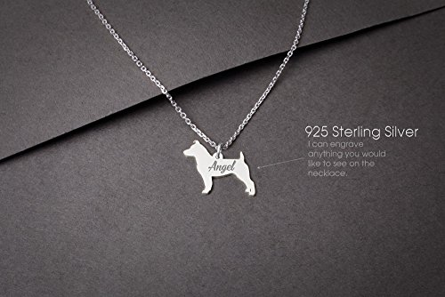 Jack Russell Necklace (JACK RUSSELL Terrier Personalised Tiny Silver Necklace - Jack Russell Necklace - 925 Sterling Silver, Gold Plated or Rose Plated)
