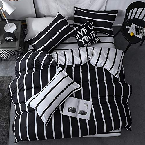 Longji 2018 New Black White Classic Bedding Set Striped Duvet Cover White Bed Linen Set Geometric Flat Sheet Set Queen Bed Set Fashion New (Size : Queen 4pcs)
