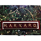 Harvard Scrabble Tiles Ornament Handmade Holiday Christmas Wood